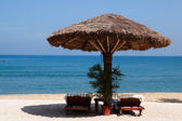 Deck chair by the sea in a hotel resort in Kerala state india — Stock Photo