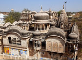 Roof top of old haveli of nawalgarh city rajasthan state in indi — Stock Photo