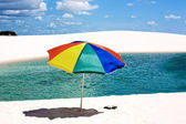 Umbrella beach in the Lencois Maranheses National Park brazil — Stock Photo