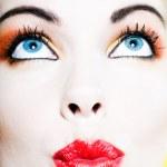 Beautiful Woman Portrait sending kiss — Stock Photo #13654290