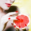 Woman Portrait Tease grapefruit breast — Stock Photo