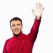 Caucasian man saluting hailing gesture studio portrait on isolated white backgound — Stock Photo