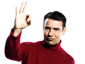 Caucasian man ok sign gesture — Stock Photo