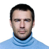 Man portrait moody suspicious — Stock Photo