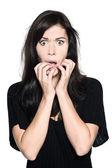 Woman beautiful portrait fear afraid anxious — Stock Photo