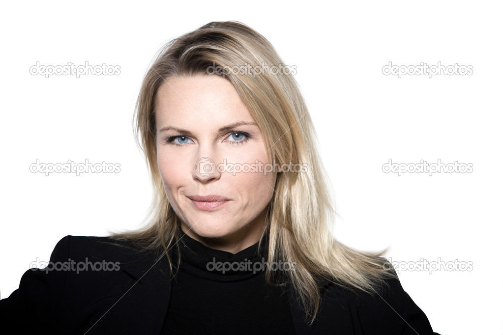 Beautiful blond hair woman perplex distrust mistrust  portrait on studio white isolated background — Foto Stock #13653791