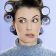 Hair-curlers victim — Stock Photo