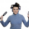 Hair-curlers victim — Stock Photo #13669864