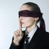 Blindfold woman — Stock Photo