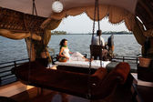 Houseboat tour in the backwaters in Kerala state india — Stock Photo