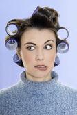 Hair-curlers victim — Stock Photo