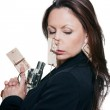 Portrait of woman with mousetraps and revolver — Stock Photo