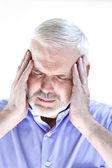 Senior man portrait migraine — Stock Photo