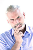 Senior man portrait pensive — Stock Photo
