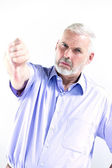 Senior man portrait thumb down failure — Stock Photo