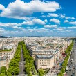 Aerial view champs elysees paris cityscape  France - Stock Photo