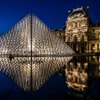 Le Louvre by night paris city France — Stock Photo