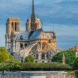 Notre dame de paris and the seine river France — Foto de Stock