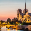 Notre dame de paris and the seine by night river France — Stock Photo