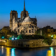Stock Photo: Notre dame de paris and the seine by night river France