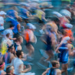 In motion blur running paris marathon france — Stock Photo