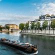 peniche seine river paris city france — Stock Photo