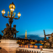 Pont Alexandre III  by night paris city France - Stok fotoğraf