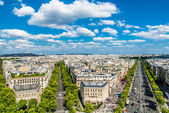 Aerial view champs elysees paris cityscape France — Stock Photo
