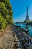 Running paris marathon france — Stock Photo