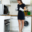 Stock Photo: Funny womcooking
