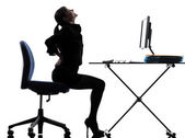 Business-frau sitzen rückenschmerzen schmerzen silhouette — Stockfoto