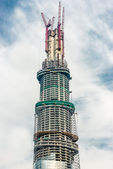 Construction site skyscrapers building pudong shanghai tower chi — Stock Photo