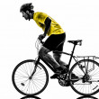 Stock Photo: Man bicycling mountain bike silhouette