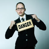 Dangerous business woman — Stock Photo