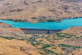Wadi el mujib dam en meer, jordanië — Stockfoto