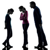 Family father mother daughter dispute reproach silhouette — Stock Photo