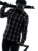 Man serial killer with shotgun silhouette portrait — Stock Photo