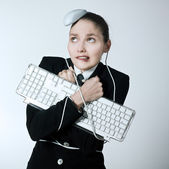 Woman computer problems — Stock Photo