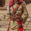 Arab legion soldier portrait  in nabatean city of  petra jordan — Stock Photo
