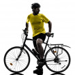 Man bicycling mountain bike silhouette — Stock Photo #31159113