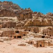Street of Facades in nabatean city of  petra jordan — Stock Photo