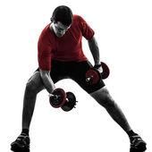 Adam egzersiz ağırlık eğitim siluet — Stok fotoğraf