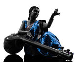 Indian tempura musician woman silhouette — Stock Photo