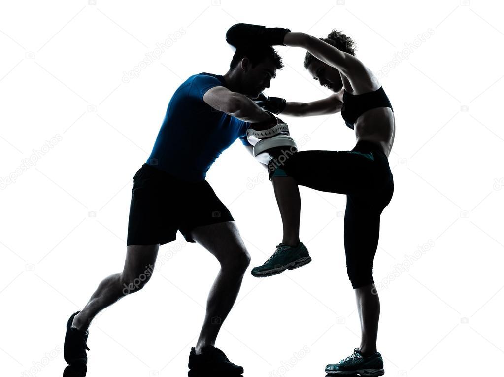 男人女人拳击训练
