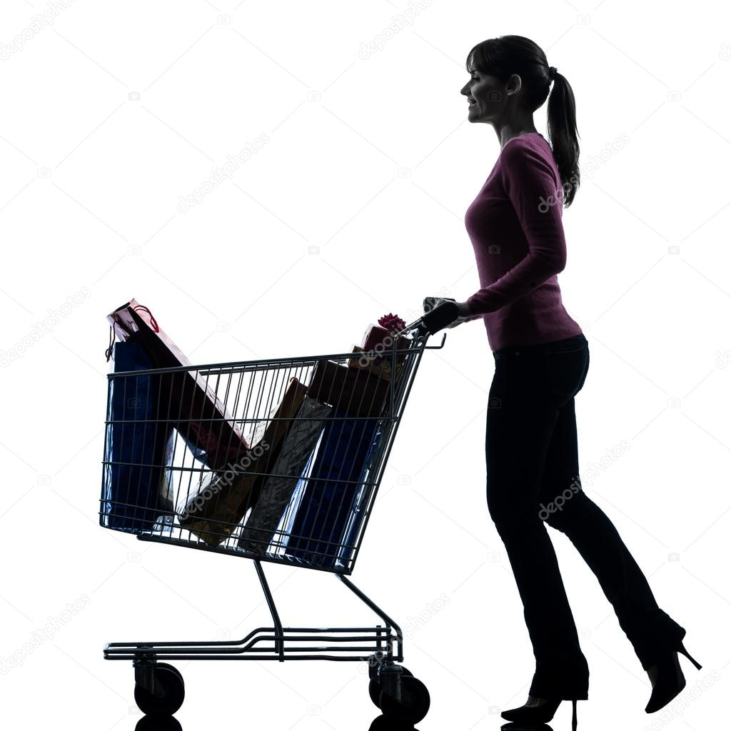 Silhouette Woman Shopping Woman with full shopping cart