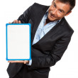 图库照片: One business man holding showing whiteboard