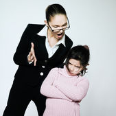 Kobieta dziecko konfliktu dipute problemy — Zdjęcie stockowe