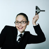 Crazy business woman saluting — Stock Photo