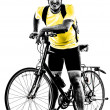 Man bicycling mountain bike standing silhouette — Stock Photo