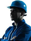 Mann bau arbeiter profil sideview silhouette portrait — Stockfoto